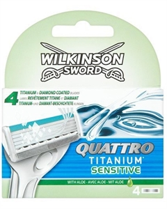 Billig Wilkinson Sword Quattro Sensitive Titanium Blades for Men - 4 pcs